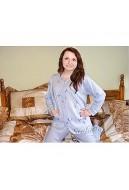 Piżama damska rozpinana z lamówką