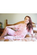 Pajama with buttons,short-sleeve 3/4 pants